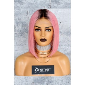 "Pink Hair Dark Roots Bob Cut,4.5"" Lace Front Wig,Silky Straight 150% Density"