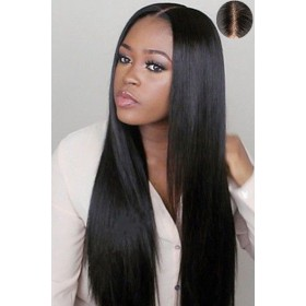 "Human Hair Silky Straight,4.5"" Super Deep Middle Part Lace Front Wigs,Pre-Plucked Hairline"