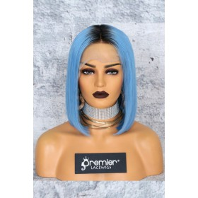 "Blue Hair Dark Roots Bob Cut,4.5"" Lace Front Wig,Silky Straight 150% Density"