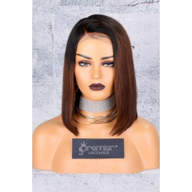 Brown Ombre Bob Lace Front Wig,Deep C Side Part.[Advanced Pre-Bleached Knots,Pre-Plucked Hairline,Pre-Added Removable Elastic Band]