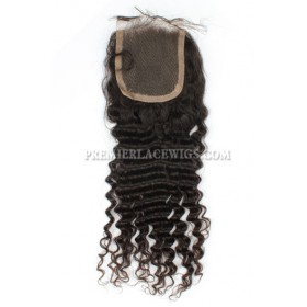 Brazilian Virgin Hair Lace Closure Natural Color 4x4inches Deep Wave