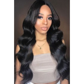 Eva--Super Thin Transparent HD Lace, Body Wave Indian Remy Human Hair Lace Wig [Pre-bleached knots only for natural black color, Pre-plucked hairline, Removable elastic band]