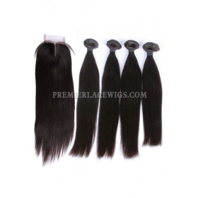 Peruvian Virgin Hair Silky Straight A Lace Closure With 4 Bundles Deal