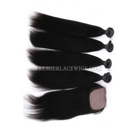 Light Yaki Virgin Indian Human Hair Extension A Silk Top Closure With 4 Bundles Deal