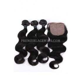 Body Wave Virgin Indian Human Hair Extension A Silk Base Closure with 3 Bundles Deal