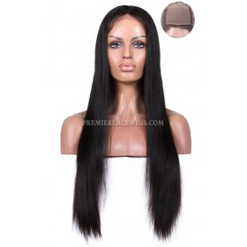 Silk Top Full Lace Wigs Silky Straight Indian Remy Hair, Medium Brown Color Silk Top