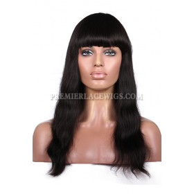 Natural Straight Full Bangs Wig Indian Remy Hair With Natural Looking Silk Top Hair Whorl