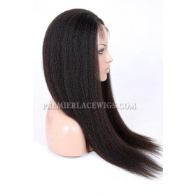 Kinky Straight Chinese Virgin Hair Glueless Lace Front Wigs
