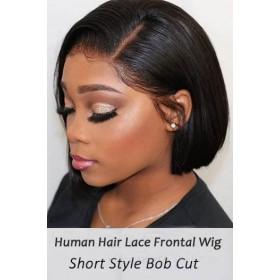 Bone Straight Bob Cut Lace Frontal Wig Indian Remy Hair