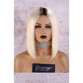 Full Lace Wig Dark Roots Blonde Hair Bob Silky Straight