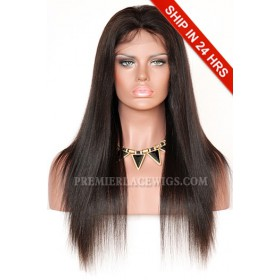 Light Yaki Indian Remy Hair Full Swiss Lace Wig