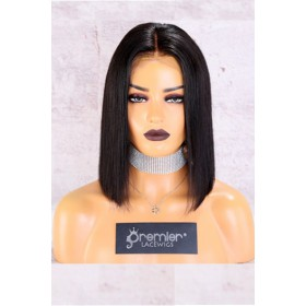 "13""x6"" Lace Frontal Wig,Middle Part Yaki Textured Bob,150% Thick Density   [Advanced Pre-Bleached Knots,Pre-Plucked Hairline,Pre-Added Removable Elastic Band]"