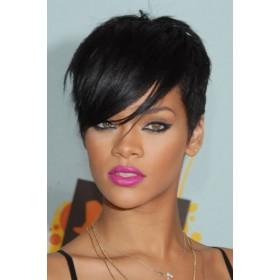 Rihanna Side-Swept Fringe Pixie Cut Short Style, Indian Remy Hair Machine Made Glueless Cap Wigs