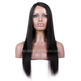 Yaki Straight Indian Remy Hair Affordable Silk Base Side Part Wigs {Production Time 7-10 working days}