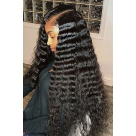 "Deep Wave 6"" Deep Part Lace Frontal Wig [Pre-bleached knots only for natural black,Pre-plucked hairline,Removable elastic band]"