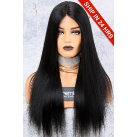 150% Density Affordable Lace Wig, Yaki Straight Middle Part, Indian Remy Hair,Average Cap Size,1B# Off Black Color,Lace Base Parting