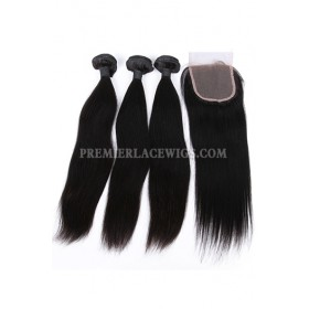 Indian Virgin Human Hair Straight A Lace Closure With 3 Bundles Deal