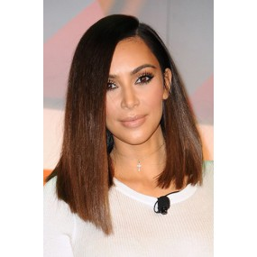 Kim K Ombre Asymmetrical Lob ,Deep Side Part Bob,Improved 360 Lace Wigs,100% Indian Remy Hair,150% Thick Density