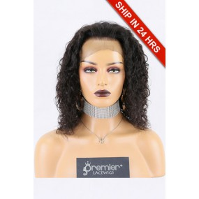 """Super Deal 6"""" Lace 360 Wig,Indian Remy Hair Natural Color,12 inches Curly 150% Thick Density, Small Size,Dark Brown Lace"""
