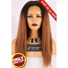 Super Deal Full Lace Wig,Indian Remy Hair Ombre Color,18 inches Italian Yaki 130% Density,Medium Size,Light Brown Lace
