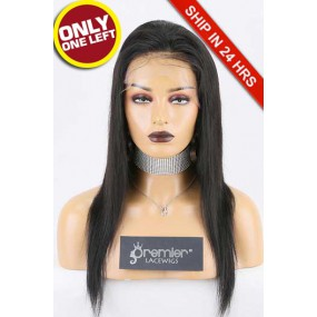 """Super Deal 4.5"""" Lace Front Wig,Indian Remy Hair 1B# Color,16 inches Silky Straight 130% Density, Medium Size,Medium Brown Lace"""