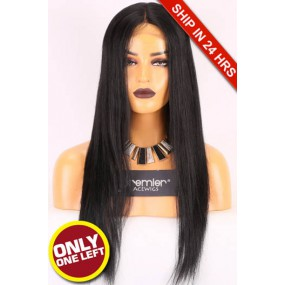 Super Deal Yaki Straight Middle Part Lace Wig,Indian Remy Hair,20 inches,1# Color,Small size, 130% Density