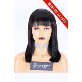 Affordable Full Bangs Wig Indian Remy Human Hair Straight, 1B# 14 inches 130%,Medium Size