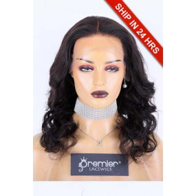 """16 inches Wavy 13""""x4"""" Lace Front Wig Indian Remy Human Hair, Natural Color 180% Average Size, Pre-bleached knots ,Pre-plucked hairline,Removable elastic band"""