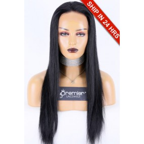 """Silky Straight Lace Front Wig Chinese Virgin Hair 1B# 20"""" 130%, Medium Size, Medium Brown Lace"""