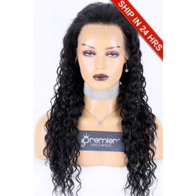 """Yaki Texture Curly Style 360 Lace Wig, Indian Remy Hair 1B#  22"""" 150% ,Medium Size, Pre-plucked Hairline"""