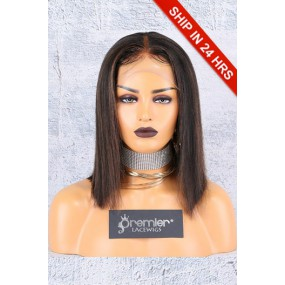 "4.5"" Deep Middle Part Lace Front Wig,Italian Yaki Thick Hair Bob Brown Highlights,Average Cap Size"