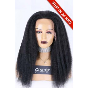 """Kinky Straight 13""""×4.5"""" Lace Front Wigs, Indan Remy Human Hair 1# Jet Black,130% Medium Size"""