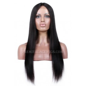 Indian Remy Hair Middle Part Yaki Straight Natural Looking Glueless Lace Part Lace Wigs