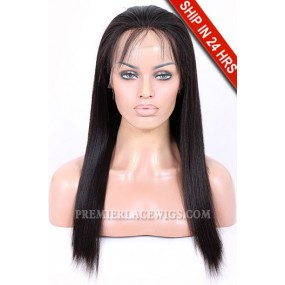 Full Lace Wigs Brazilian Virgin Hair Light Yaki 16 inches & 18 inches