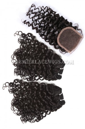 Brazilian Virgin Hair Weave 4ozs thick Hair Candy Curl A Lace Closure with 2 Bundles Deal