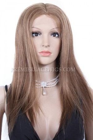 Indian Remy Hair Full Lace Wigs Silky Straight Dark Blonde 6#8#