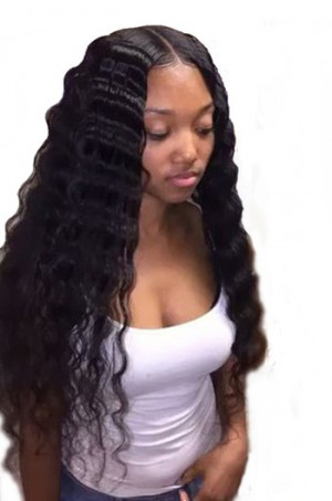 "Deep Wave 6"" Deep Part 360° Lace Wigs,Indian Remy Hair,150% Thick Density,Pre-Plucked Hairline,Removable Elastic Bands"