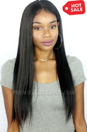 20 inches , natural color , Yaki Straight Indian Remy Hair Improved 360°Anatomic Lace Wigs,150% Thick Density