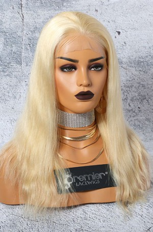 """#613 Blonde 4.5"""" Lace Front Wigs Natural Straight Indian Remy Hair"""