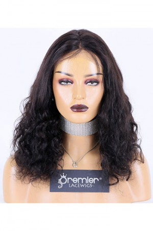 Half Spiral Curl Indian Remy Hair Full Lace Wig,16inches,1B# Color,Medium Cap Size,120% Density