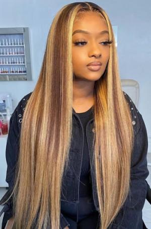 HD Lace Human Hair Wig,Blonde Highlights Brown Bone Straight