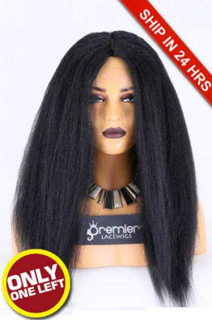 Glueless Lace Front Wig,Indian Remy Hair,Kinky Straight,1# Color,20 inches,130% Density,Average Size, Medium Brown Lace