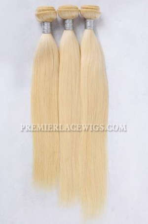 613# Blonde Indian Virgin Hair Weaves Silky Straight 3 Bundles Deal