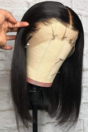 """Blunt Cut Bob Bone Straight  6"""" Deep Part 360° Lace Wig, Pre-plucked Hairline,Removable Elastic Band"""