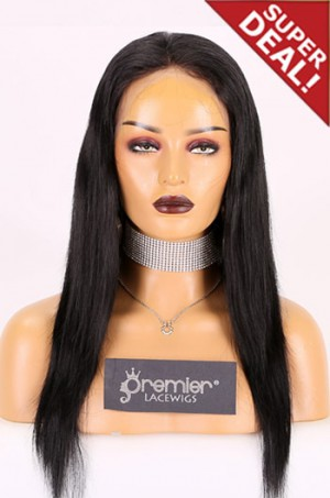 """Large Size 23.5"""" Full Lace Wigs, Brazilian Virgin Hair Silky Straight 1#, 18 inches,120% Normal Density, Light Brown Lace"""