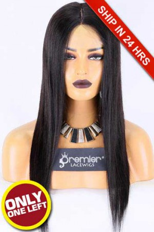 Silk Top Full Lace Wig,Indian Remy Hair,Straight,Natural Color,18 inches,120% Normal Density, Transparent Lace,Small Size