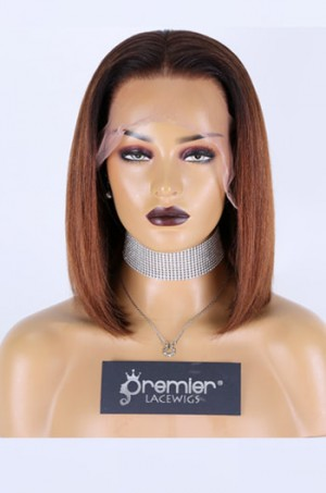 """Grace--Brown Ombre Hair Relaxed Yaki Texture Blunt Cut Bob 13""""x6"""" Lace Frontal Wig,150% Thick Density [Pre-bleached knots,Pre-plucked hairline,Removable elastic band]"""