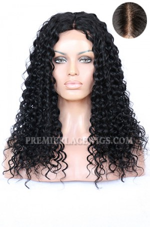 """Indian Remy Hair Big Curl,4.5"""" Super Deep Middle Part Lace Front Wigs"""