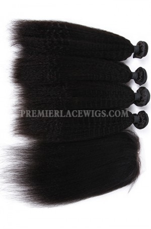 Kinky Straight Virgin Indian Human Hair Extension A Silk Base Closure with 3 Bundles Deal v