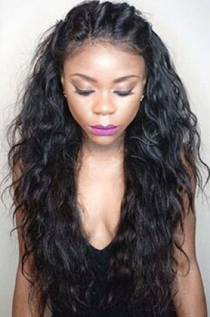 Loose Curly Glueless Silk Top Lace Front Wig